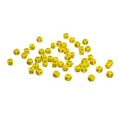 Кости игральные пластиковые, 10мм, 1 шт, цвет желтый