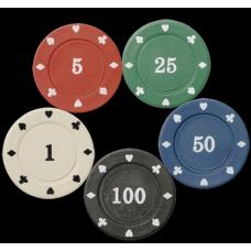 100 фишек для покера Holdem Light с номиналом
