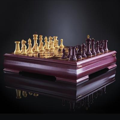 Шахматы Стаунтон Люкс (амарант/самшит), ограниченная серия