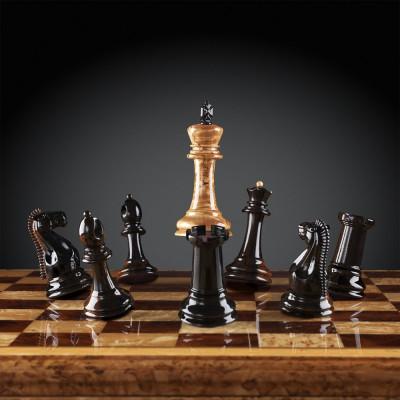 Шахматы Стаунтон Люкс (карельская береза/макассар)