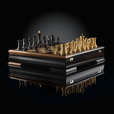 Шахматы Стаунтон Люкс (макассар/карельская береза)