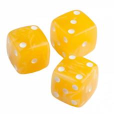 Кости игральные из янтаря 13 мм желтые, 1 шт