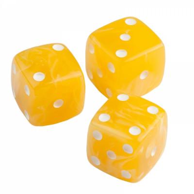 Кости игральные из янтаря 15 мм желтые, 1 шт
