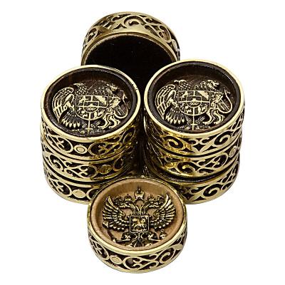 "Набор фишек для нард ""2 Герба"" с бронзой 209, Haleyan"
