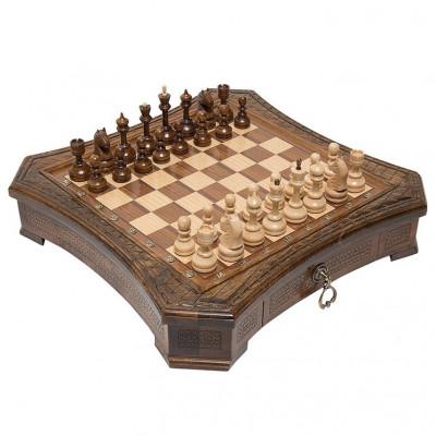 Шахматы резные восьмиугольные в ларце с ящиками 50, Haleyan