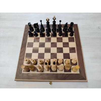Шахматы подарочные клен презент орех средние