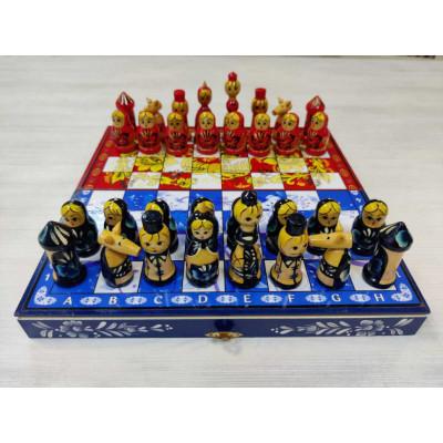 Шахматы Гжель против Хохломы