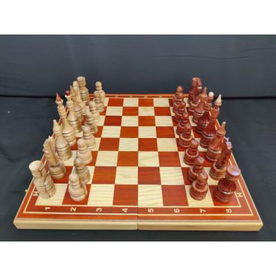 Шахматы большие ручной работы из клена и красного дерева