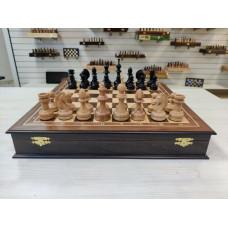 Шахматы в ларце премиальные из ореха и бука