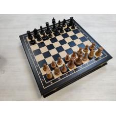 Шахматный ларец подарочный из мореного дуба средний