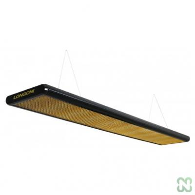 Лампа плоская люминесцентная «Longoni Nautilus» (черная, золотистый отражатель, 287x31x6см)