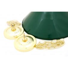 Лампа на два плафона «Evergreen» (золотистая штанга, зеленый плафон D35см)
