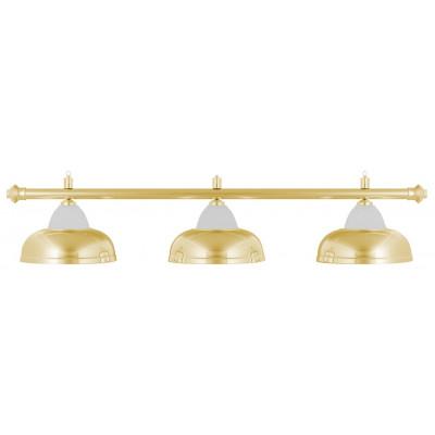 Лампа на три плафона «Crown» (золотистая штанга, золотистый плафон D38см)