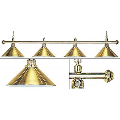 Лампа на четыре плафона «Elegance» (золотистая штанга, золотистый плафон D35см)