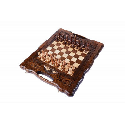 Шахматы + нарды резные с Араратом 30 с ручкой, Haleyan