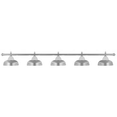 Лампа на пять плафонов «Crown» (серебристая штанга, серебристый плафон D38см)