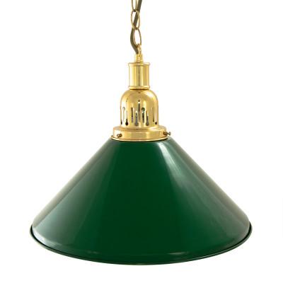 Лампа на один плафон «Evergreen» (золотистая чашка, зеленый плафон D35см)