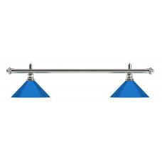 Лампа на два плафона «Blue Light» (серебристая штанга, синий плафон D35см)