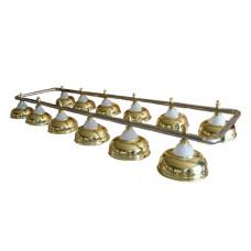 Лампа на двенадцать плафонов «Crown» (серебристая штанга, золотистый плафон D38см)