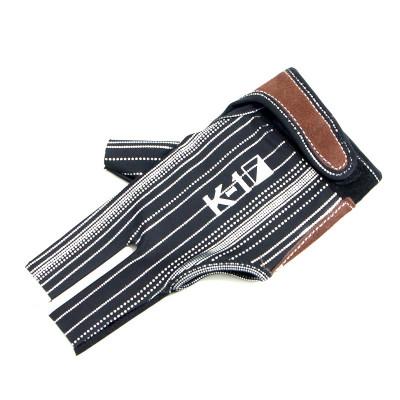 """Перчатка бильярдная """"K-1"""" (черная, серебро, вставка кожа)"""