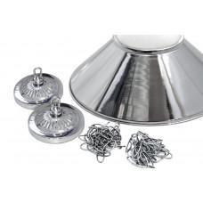 Лампа на три плафона «Jazz» (серебристая штанга, серебристый плафон D38см)