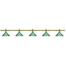 Лампа на пять плафонов «Evergreen» (золотистая штанга, зеленый плафон D35см)