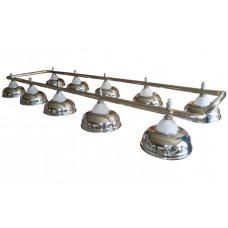 Лампа на десять плафонов «Crown» (серебристая штанга, серебристый плафон D38см)