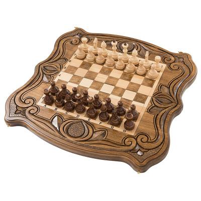 Шахматы + нарды резные средние