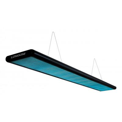 Лампа плоская люминесцентная «Longoni Nautilus» (черная, бирюзовый отражатель, 247x31x6см)