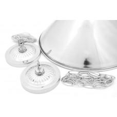 Лампа на два плафона «Elegance» (серебристая штанга, серебристый плафон D35см)
