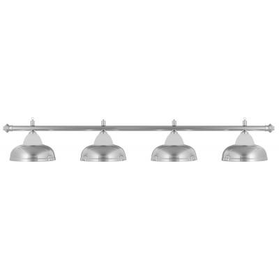 Лампа на четыре плафона «Crown» (серебристая штанга, серебристый плафон D38см)
