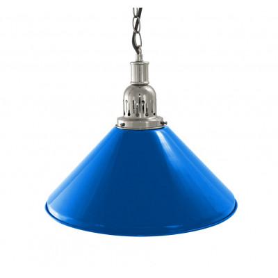 Лампа на один плафон «Blue Light» (серебристая чашка, синий плафон D35 см)
