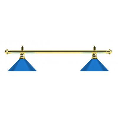 Лампа на два плафона «Blue Light» (золотистая штанга, синий плафон D35 см)