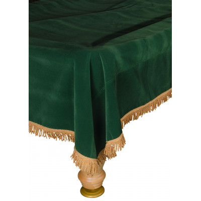 Покрывало для стола 9 ф (бархат, зеленое/серебристая бахрома)