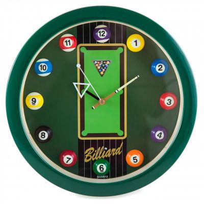 """Часы настенные """"12 шаров"""" D30 см (зеленые), пластик"""