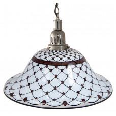 Лампа на один плафон «Memory» (серебристая чашка, черно-белый плафон D44см)