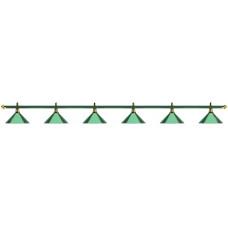 Лампа на шесть плафонов «Allgreen» (зелёная штанга, зелёный плафон D35см)