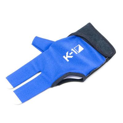 """Перчатка бильярдная """"K-1"""" (черно-синяя, вставка кожа)"""