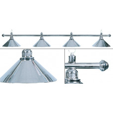 Лампа на четыре плафона «Elegance» (серебристая штанга, серебристый плафон D35см)
