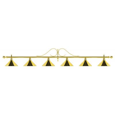 Лампа на шесть плафонов «Classic» (витая золотистая штанга, золотистый плафон D35см)