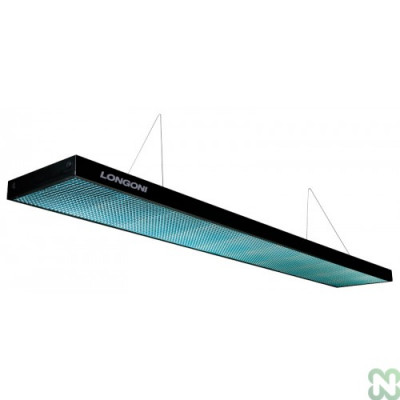 Лампа плоская светодиодная «Longoni Compact» (черная, бирюзовый отражатель, 247х31х6см)
