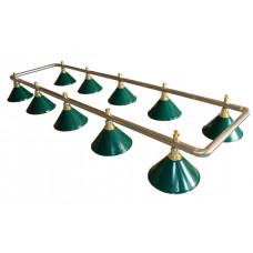 Лампа на десять плафонов «Evergreen» (серебристо-золотистая штанга, зеленый плафон D35см)
