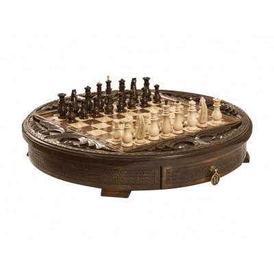 Шахматы резные в ларце Круг Света 50, Haleyan