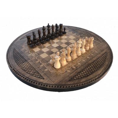 Шахматы + нарды резные Круглые 60, Mkhitaryan